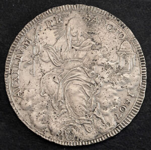 1807, Vatican, Pope Pius VII. Large Silver Scudo Coin. Environmental Damage!