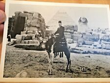 Vintage Egyptian Photo of Man on Camel by Pyramid and Sphinx