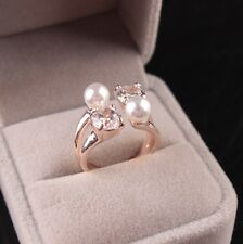 Fashion Lady Open Adjustable Ring Zircon Pearls Rings Gifts for Mother's Day