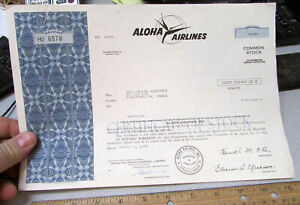 Stock Certificate 1973 Aloha Airline 5 shares of common stock, expired, colorful