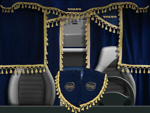 Volvo VNL VNM Curtains Full Set Blue with golden tassels 7 pieces