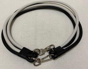 MIMCO - Black & White Leather Double Clip Belt - Sz M
