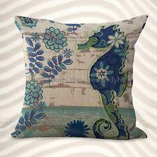 US Seller-marine nautical ocean sea life seahorse cushion cover pillow case
