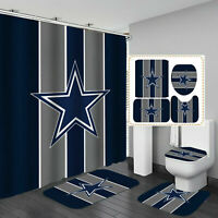 Dallas Cowboys Bathroom Non-Slip Rugs Shower Curtains Toilet Lid Cover Mat 4PCS