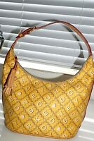 Dooney Bourke Purse Hobo Yellow Canvas Tan Leather Strap Bucket Vintage DB Logo