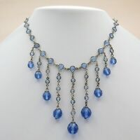 Vtg 1920's Art Deco Bezel Set Open Back Crystal Blue Glass Bead Dangle Necklace
