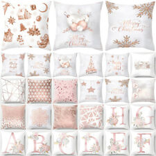 Home Pink Rose Gold Geometric Cushion Sofa Cover Marble Throw Pillow Case