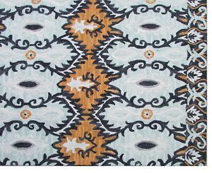 Handmade Transitional  Blue Orange Gray Wool Area Rug 8' x 10'