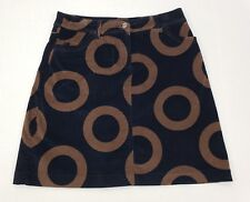 Womens Boden Brown Black Geometric Circle Print Velvet Mini Skirt 12R UK 8 US