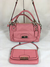 GORGEOUS Coach KRISTIN Leather Double Zip Satchel and Clutch/Wristlet in Rose