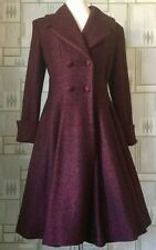 Ladies Tailored 1940s/50s Vintage Swing Style Winter Coat in RED Fleck  8 - 22