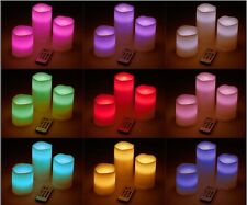 Flameless Wax Pillar Candle Set Of 3 LED Battery Remote Control Colour Changing