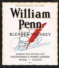 Unused 1940s lg ILLINOIS Peoria Gooderham Worts WILLIAM PENN WHISKEY Label
