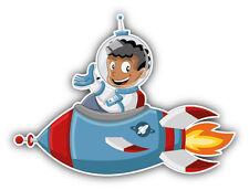 Cartoon Astronaut Boy On Rocket Car Bumper Sticker Decal 5'' x 4''
