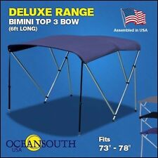 """BIMINI TOP 3 Bow Boat Cover Blue 73""""-78"""" Wide 6ft Long With Rear Poles"""