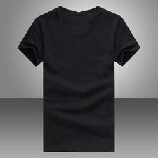 Summer Men V Neck Slim T-Shirt Tops Cotton Short Sleeve Black White