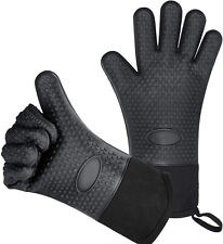 1 Pair Silicone Oven Mitts Heat Resistant Grilling Gloves Potholder (Black)