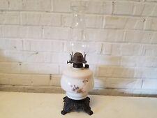 Antique Wavecrest Oil Kerosene Table Lamp with Blue Floral Decorations
