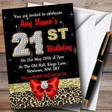 Red Diamond And Leopard Print 21St Birthday Party Personalised Invitations