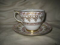 Clarence Bone China Tea Cup & Saucer Pink Gold White 48/59 Made in England