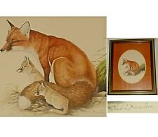 New listing Framed Print From Watercolor of Red Fox with Pups by Artist Karl E. Karalus