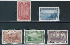 TMM* 1938 Canada Stamp Set Scott # 241-45 mint/light hinge/old gum