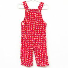 Healthtex VTG Overalls 18 Mo Stantogs Red Corduroy Tree Fish Butterfly Train