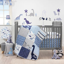 Dinosaur 3-Piece Crib Bedding Set Blue Grey Baby Boys Nursery Blanket Sheet Boy