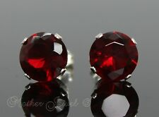 8mm REAL SOLID 925 STERLING SILVER Round Garnet Red CZ Stud Unisex Earrings