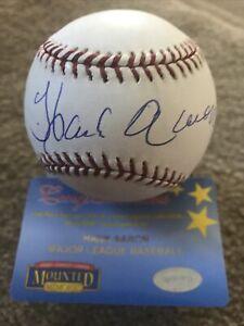 Hank Aaron Signed MLB Baseball W Mounted Memories Cert MVP HOF Atlanta Braves