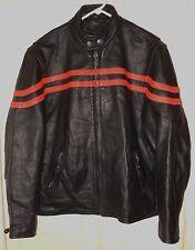 Vtg. Cafe Motorcycle Jacket Black Leather Orange Racing Stripes HD 46