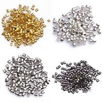 Wholesale 500Pcs/1000pcs Gold/Silver/Black/Bronze Tube Crimp End Beads 1.5mm 2mm