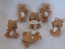 "Lot Of 6 Vintage Plastic Brown Bear 1"""