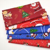 5X Christmas Cotton Fabric Santa Deer Tree Patchwork Clothing Sewing DIY Craft