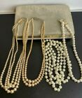 4 X Antique Pearl Necklaces In Vintage Mele Jewellery Box