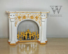 1/6 baroque fireplace with flickering coals (LED), bjd doll furniture
