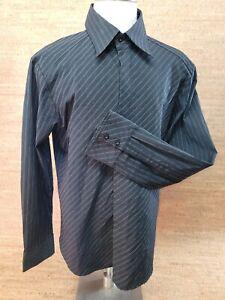 7 diamonds Men's XXL Dress Shirt Black Pinstripe Long Sleeve Hidden Button Down