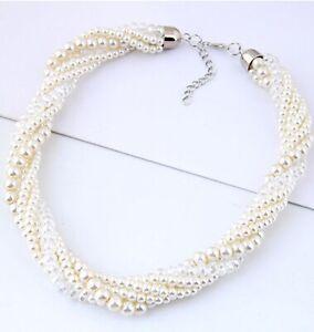 faux Pearl collar chunky beads twist bib pendant fashion necklace