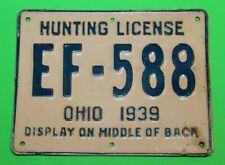 Antique Rare 1939 METAL OHIO HUNTING LICENSE - #26