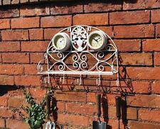 MENSOLA da giardino Vintage Bianco Orologio con termometro e Strumento Ganci Shabby Chic Nuovo