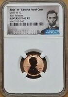 "2019 FIRST ""W"" MINT REVERSE PROOF LINCOLN CENT, NGC REV PF69RD, FIRST RELEASES"