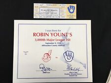 Robin Yount 3000 hit game full unused tickets in Mint Condition September 9 1992
