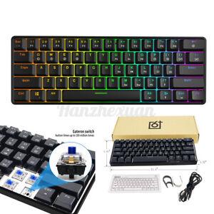 GK 61 Keys USB Type-C Gateron Switch RGB Backlit ABS Mechanical Gaming Keyboard