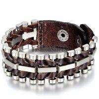 Men Unique Punk Rock Wide Brown Leather Alloy Bicycle Chain Bracelet Bangle Cuff