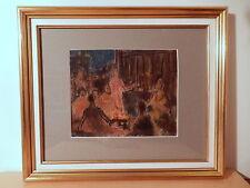 Tableau pastel atelier Pierre Thevenin scene animée personnage