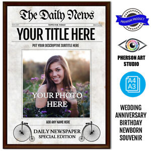 Personalised Old Newspaper front Page- add photo,name,date,title and subtitle
