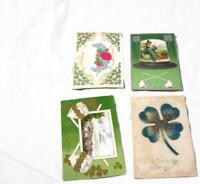4 Antique St. Patrick Irish Postcards - Shamrocks 4-Leaf Clover Pipes