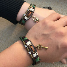 2Pcs Couples Bracelet Lovers Braclet His & Hers Lock And Key Friendship