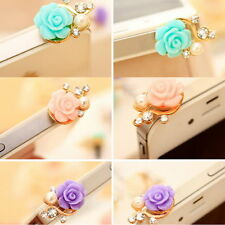 Rose Flower 3D Crystal Bead Pearl Anti Dust Plug Charms For 3.5mm Phone TBM