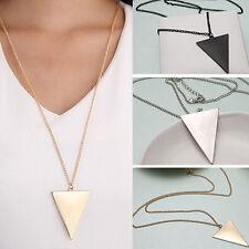 EG_ Women Fashion Punk Jewelry Triangle Pendant Retro Long Chain Necklace